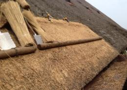 Het doordekken van een rieten dak