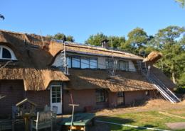 Rietdekken van woning met grote dakkapellen Hijken